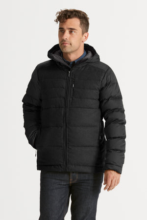Men's Dual Down Hooded Water Resistant Jacket   Caviar