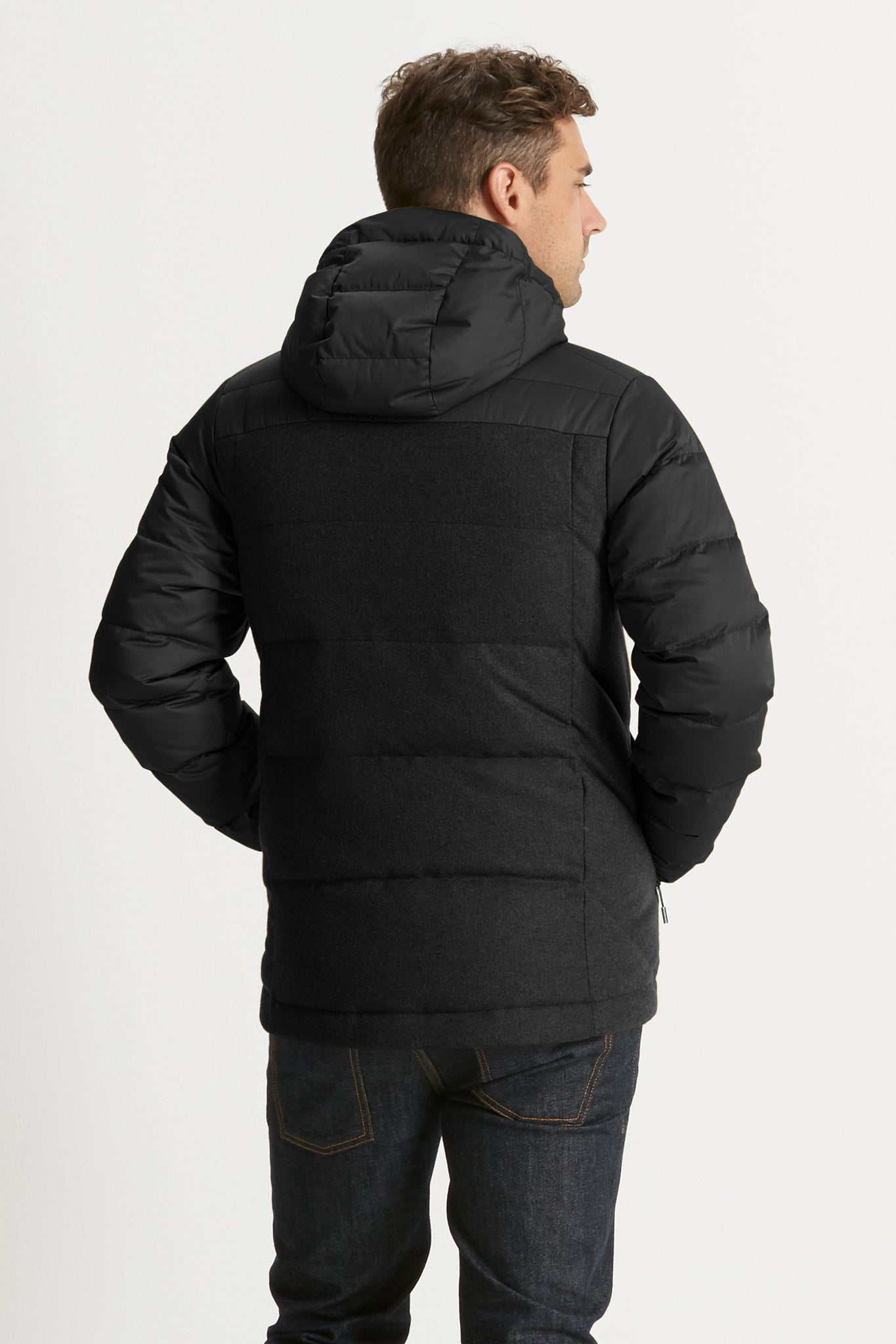 Men's Dual Down Hooded Water-Resistant Jacket - Caviar
