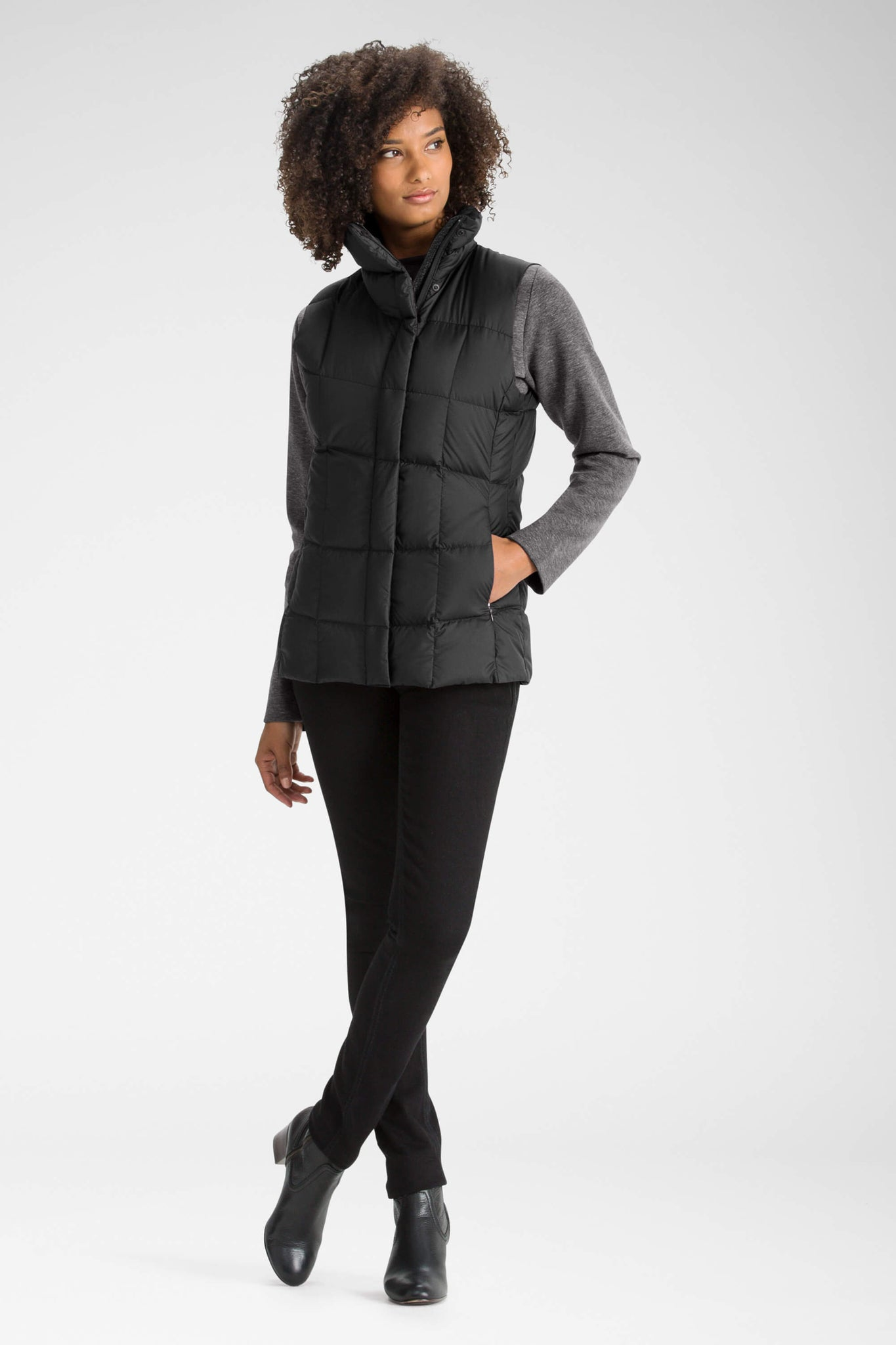 women's zip front ellipsis down insulated vest - caviar