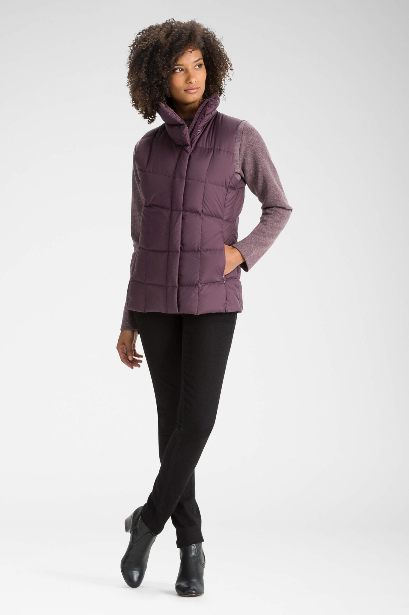women's zip front ellipsis down insulated vest - plum