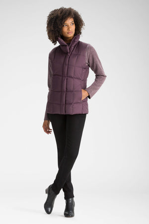 women's zip front ellipsis down insulated vest   plum
