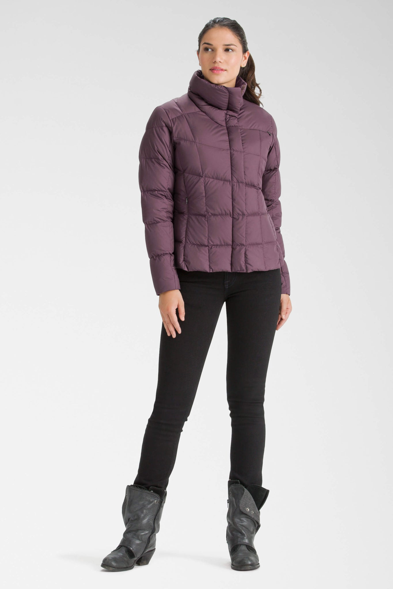 women's snap front ellipsis down insulated shirt - plum