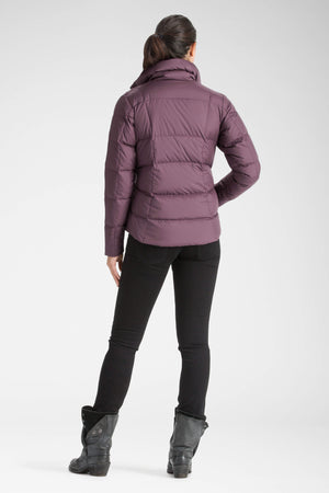 women's snap front ellipsis down insulated shirt   plum
