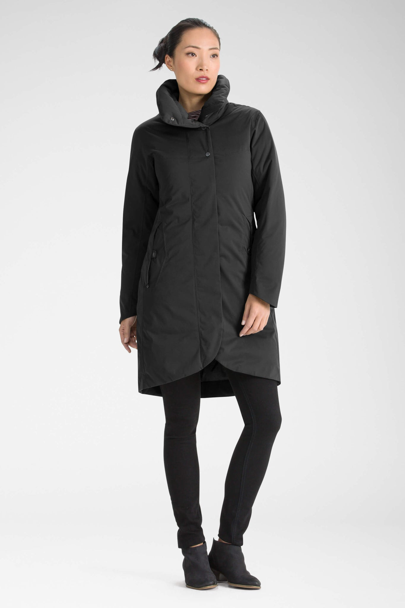 women's splendor down hooded trench coat - caviar