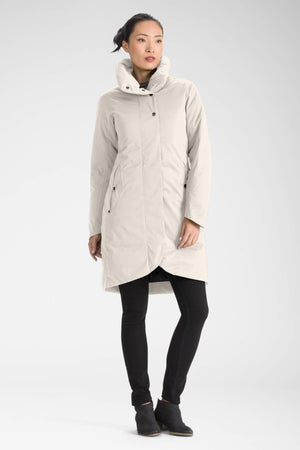 women's splendor down hooded trench coat   ivory