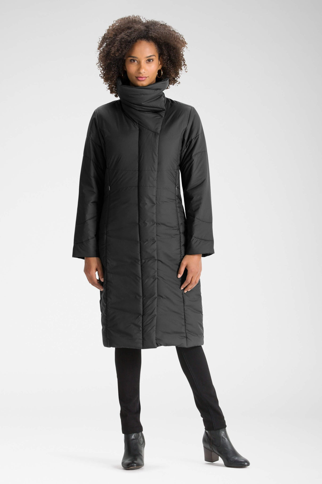 women's insulated sclendre trench with high neck - caviar