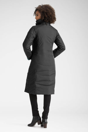 women's insulated sclendre trench with high neck   caviar