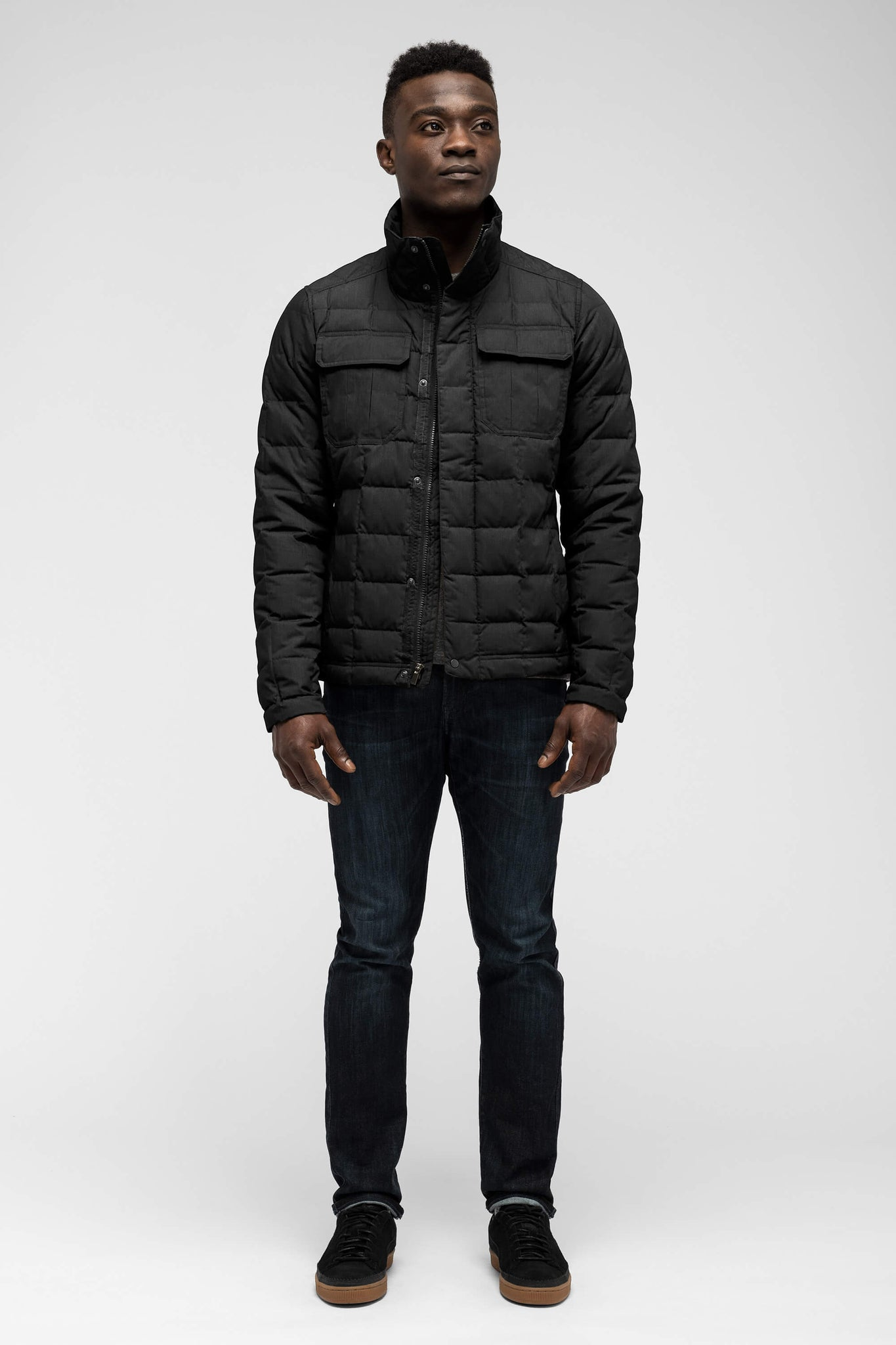 men's zip front utility down jacket - caviar