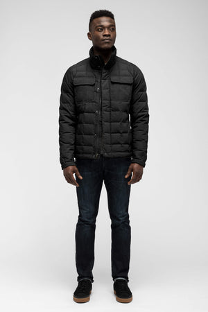 men's zip front utility down jacket   caviar