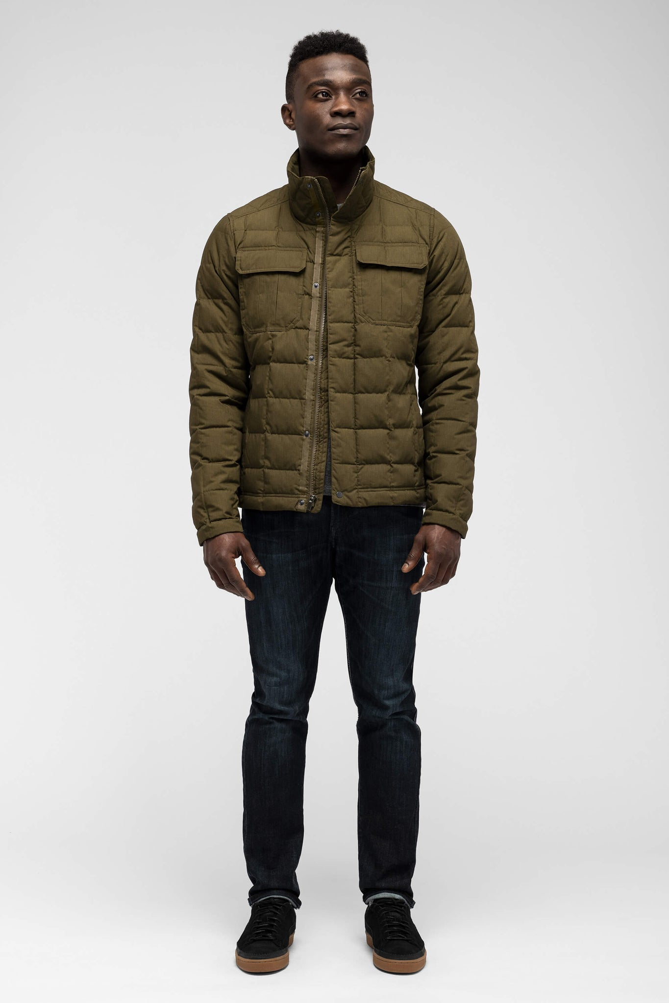 men's zip front utility down jacket - frond