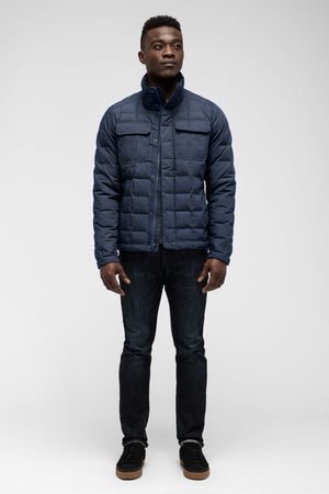 men's zip front utility down jacket   prussian heather