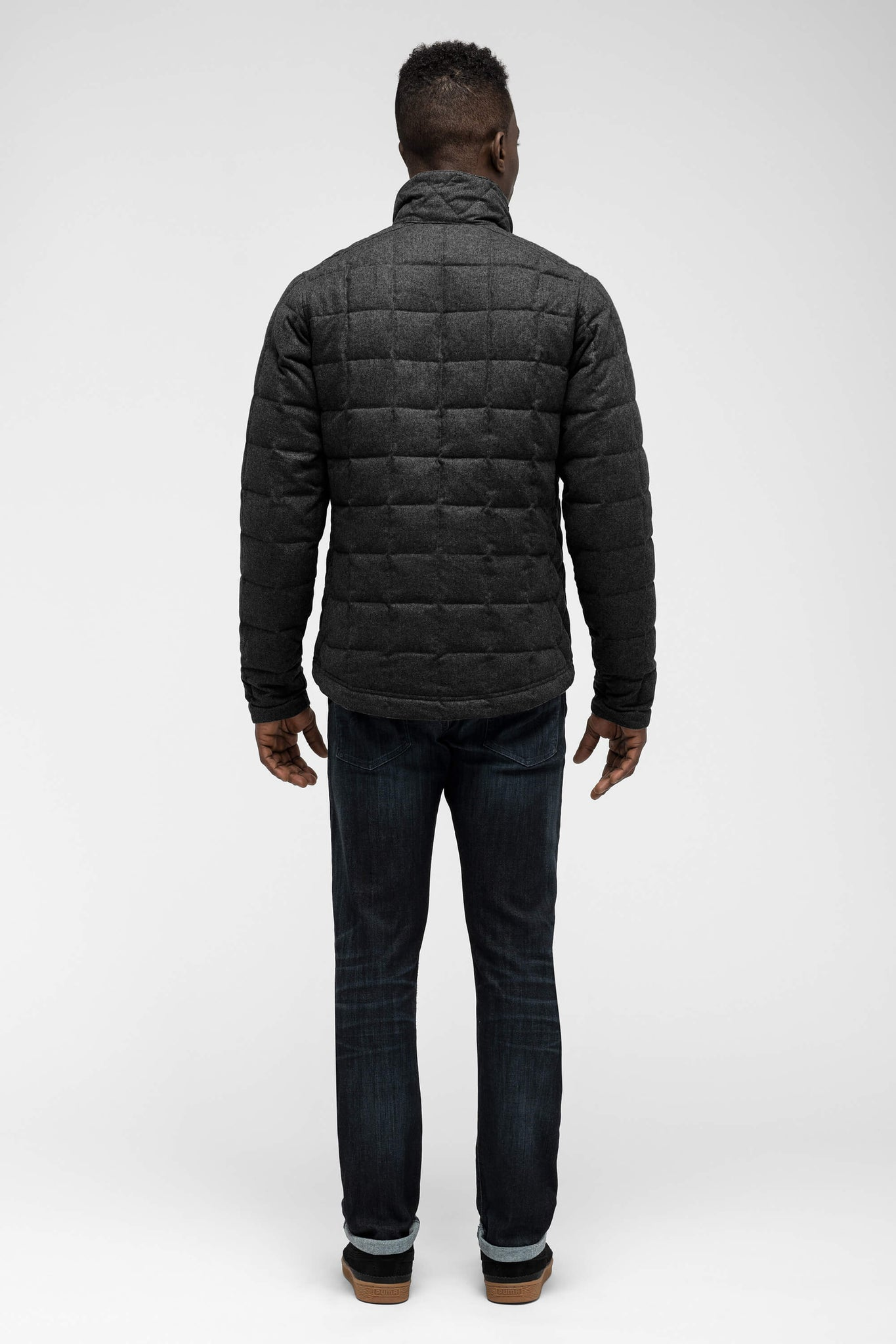 men's utility wool down jacket - caviar heather