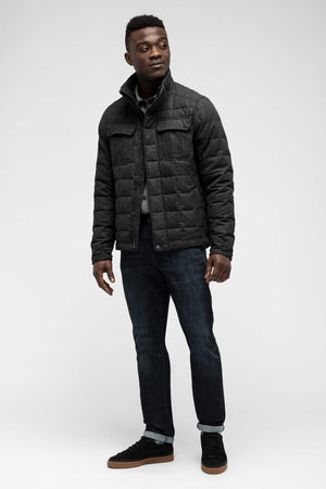 men's utility wool down jacket   caviar heather
