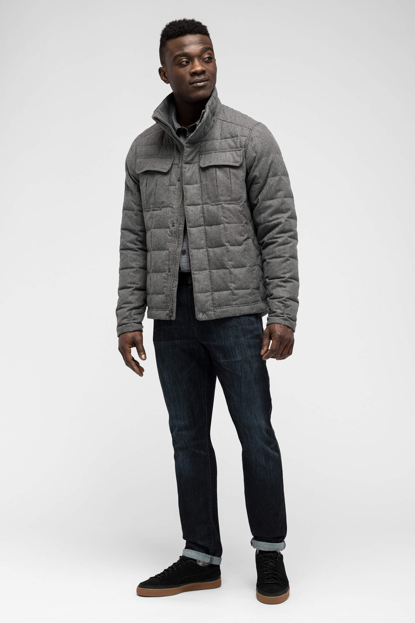 men's utility wool down jacket - cape heather