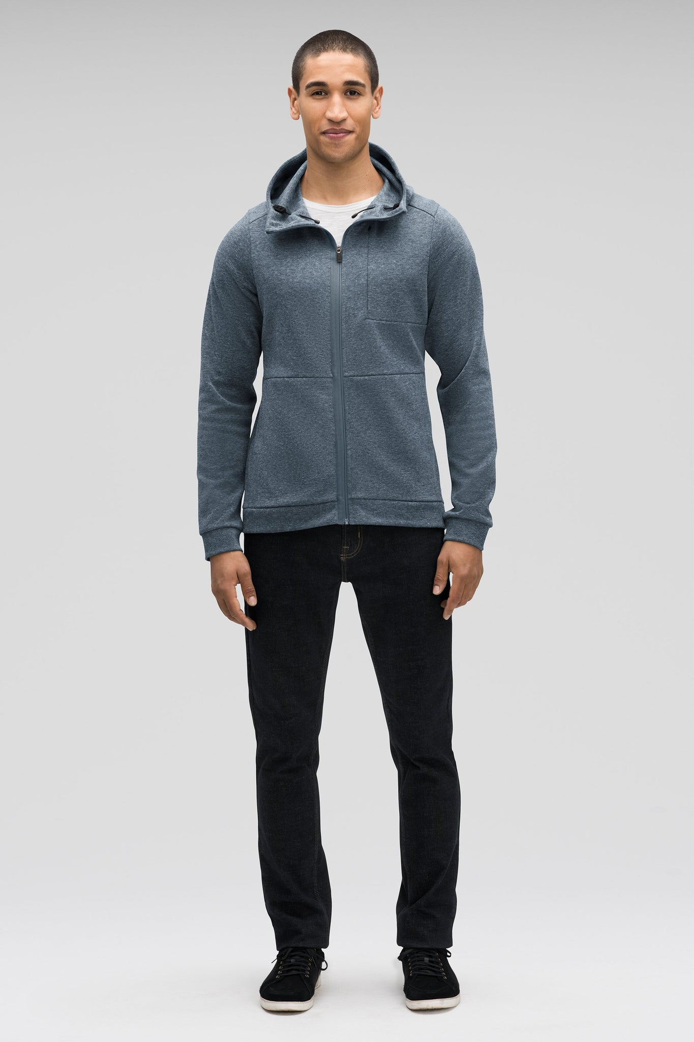 men's hyperspacer full zip hoody- lagoon heather