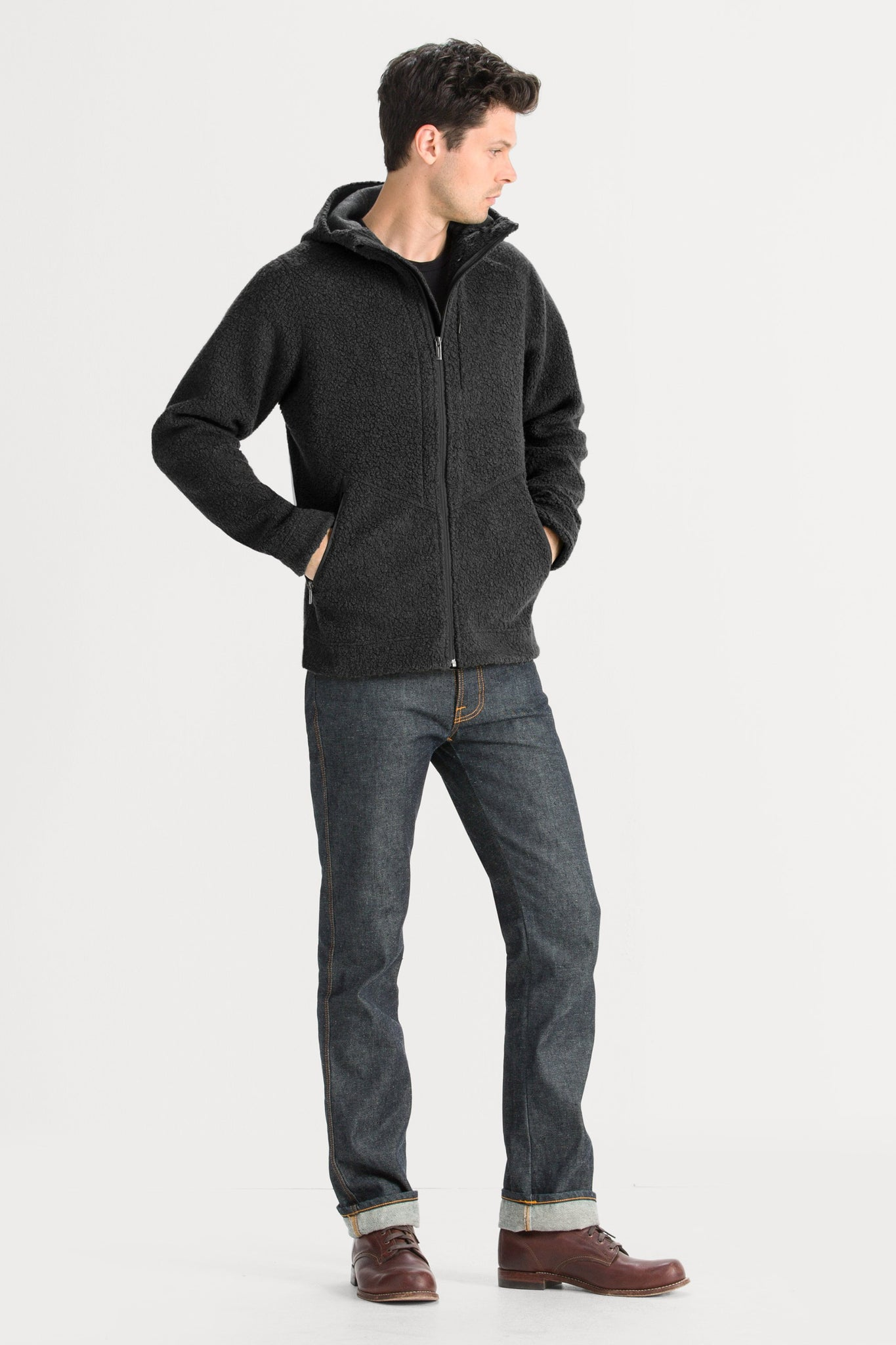Men's Randygoat High-Pile Shearling Hoodie - Caviar Heather
