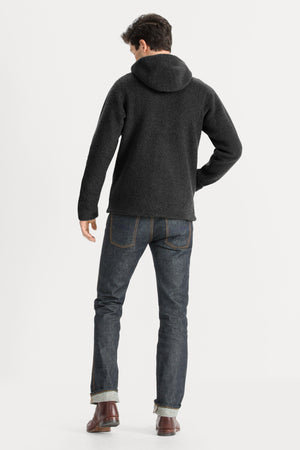 Men's Randygoat High Pile Shearling Hoodie   Caviar Heather