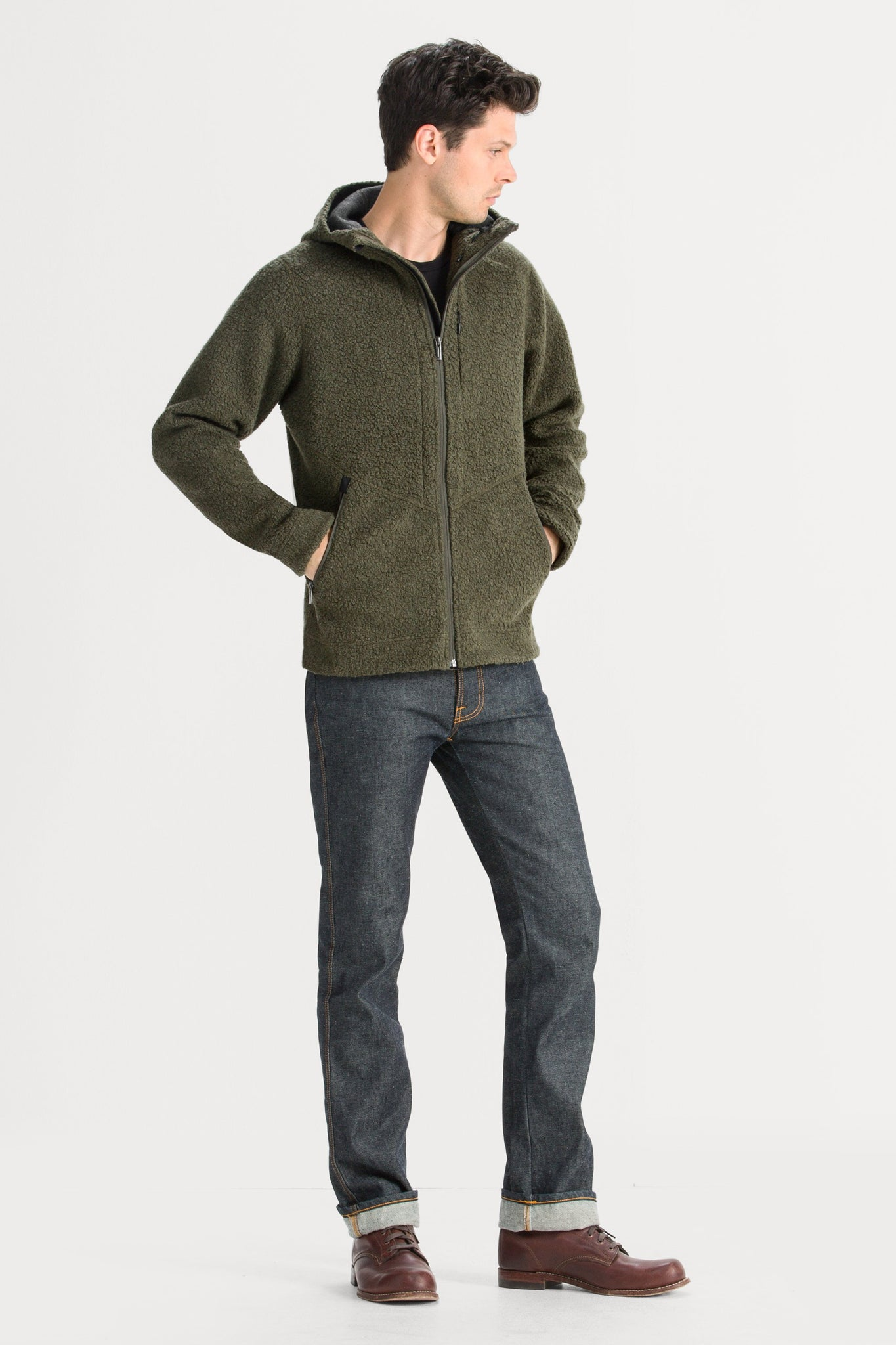 Men's Randygoat High-Pile Shearling Hoodie - Green