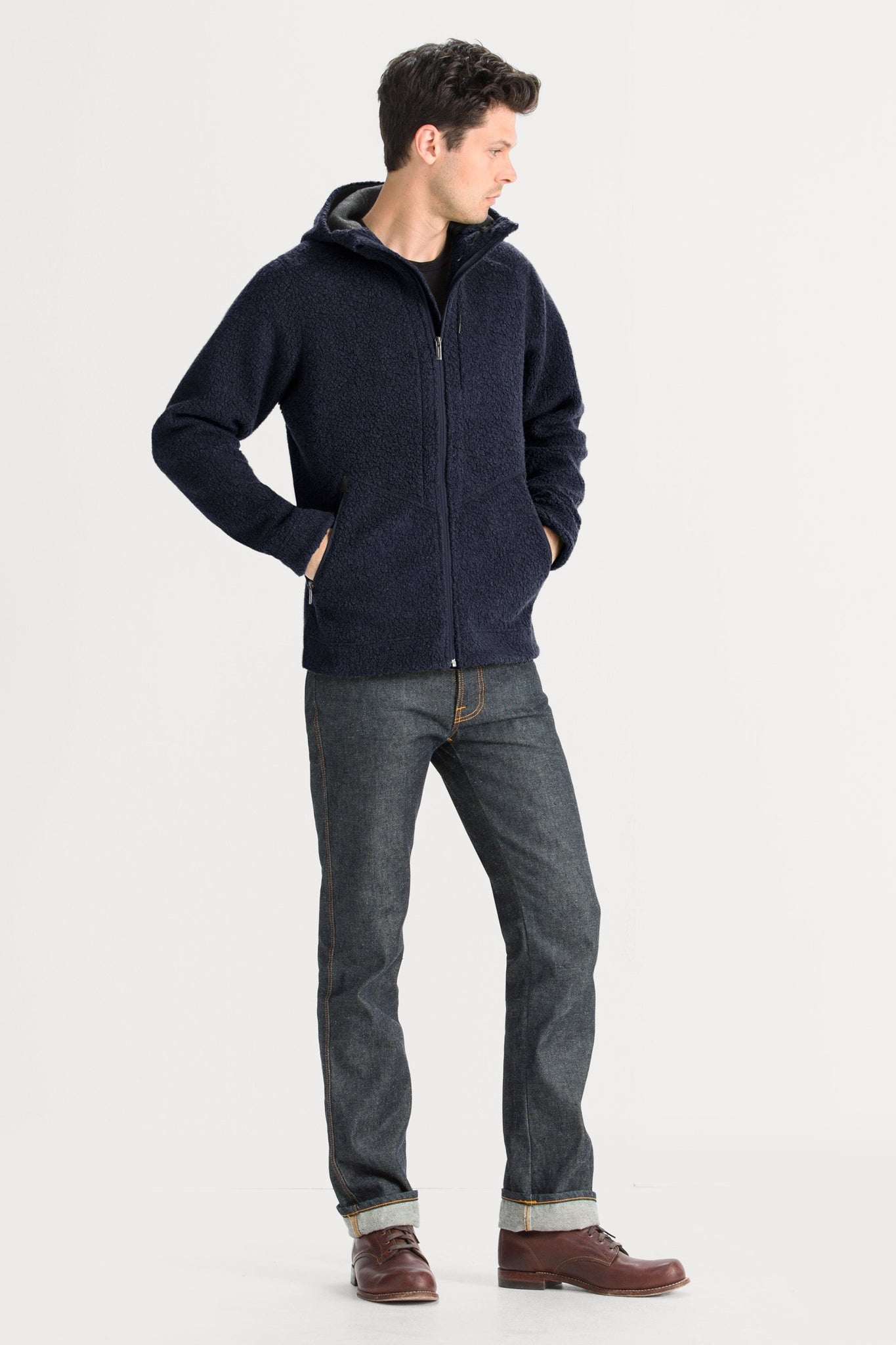 Men's Randygoat High-Pile Shearling Hoodie - Blue