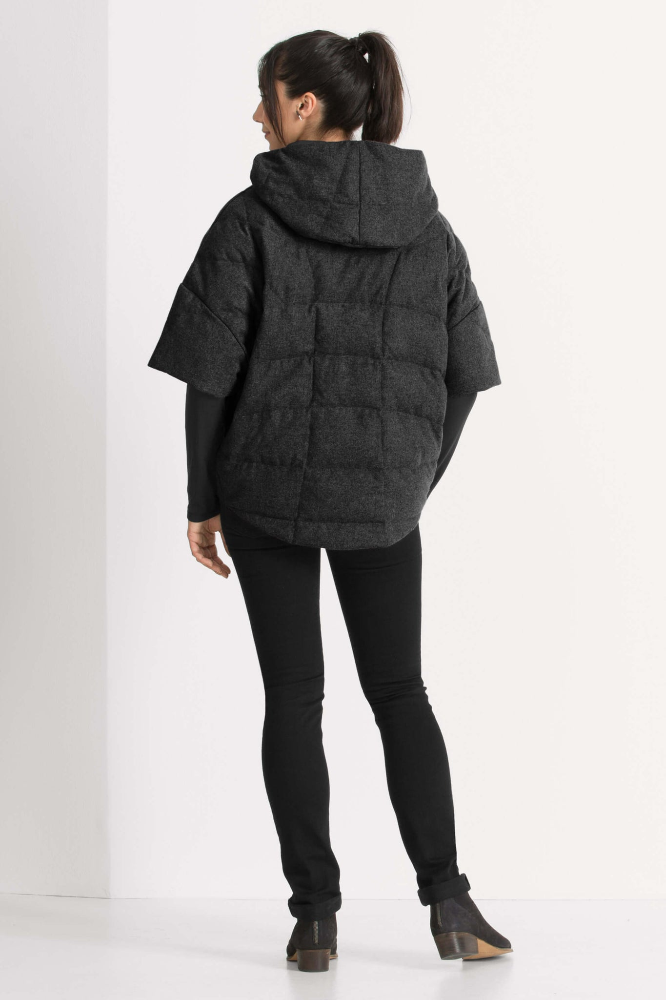 women's hooded wool down stole - caviar heather