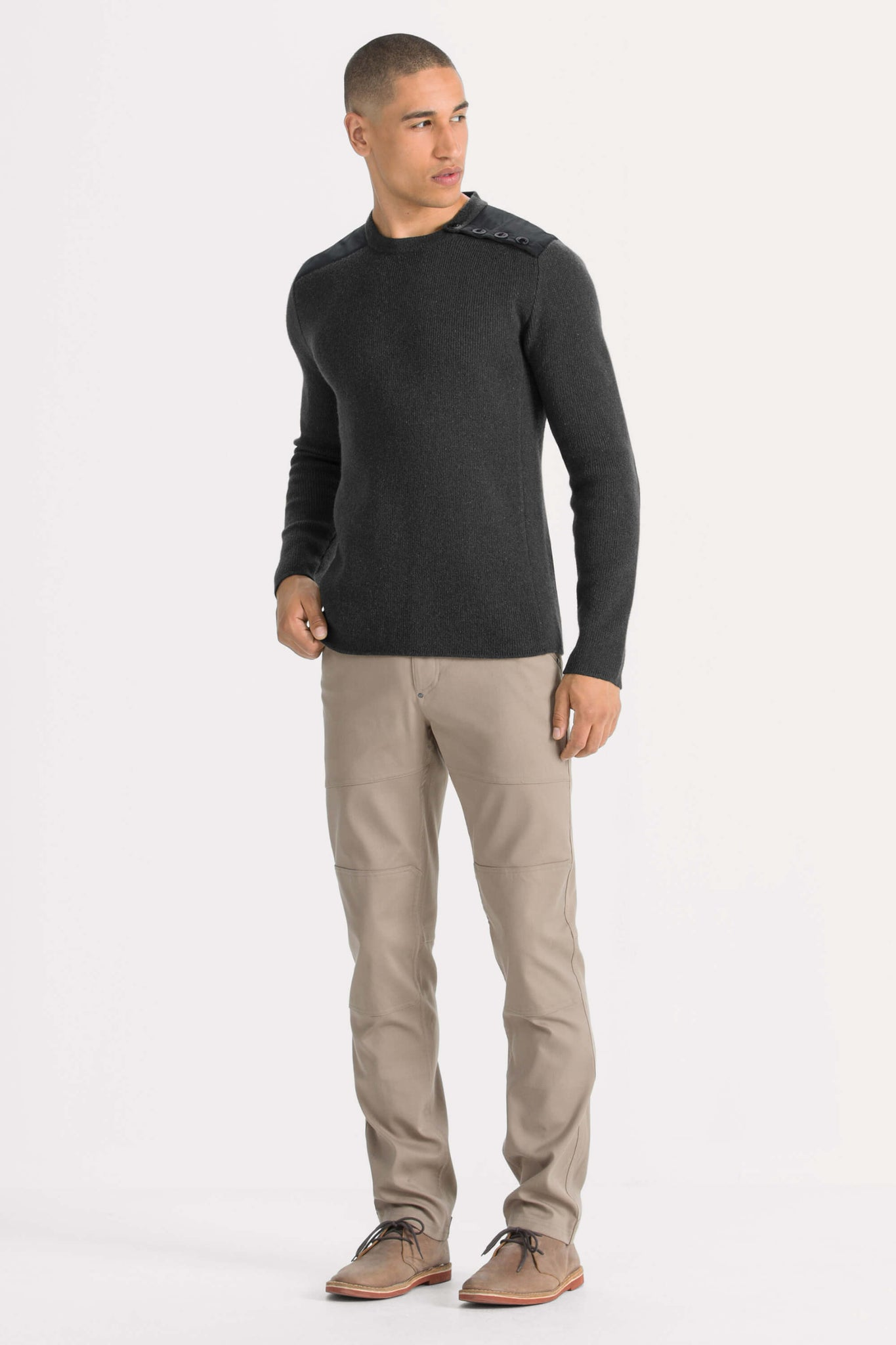 men's recycled wool stealth crew neck sweater - caviar heather