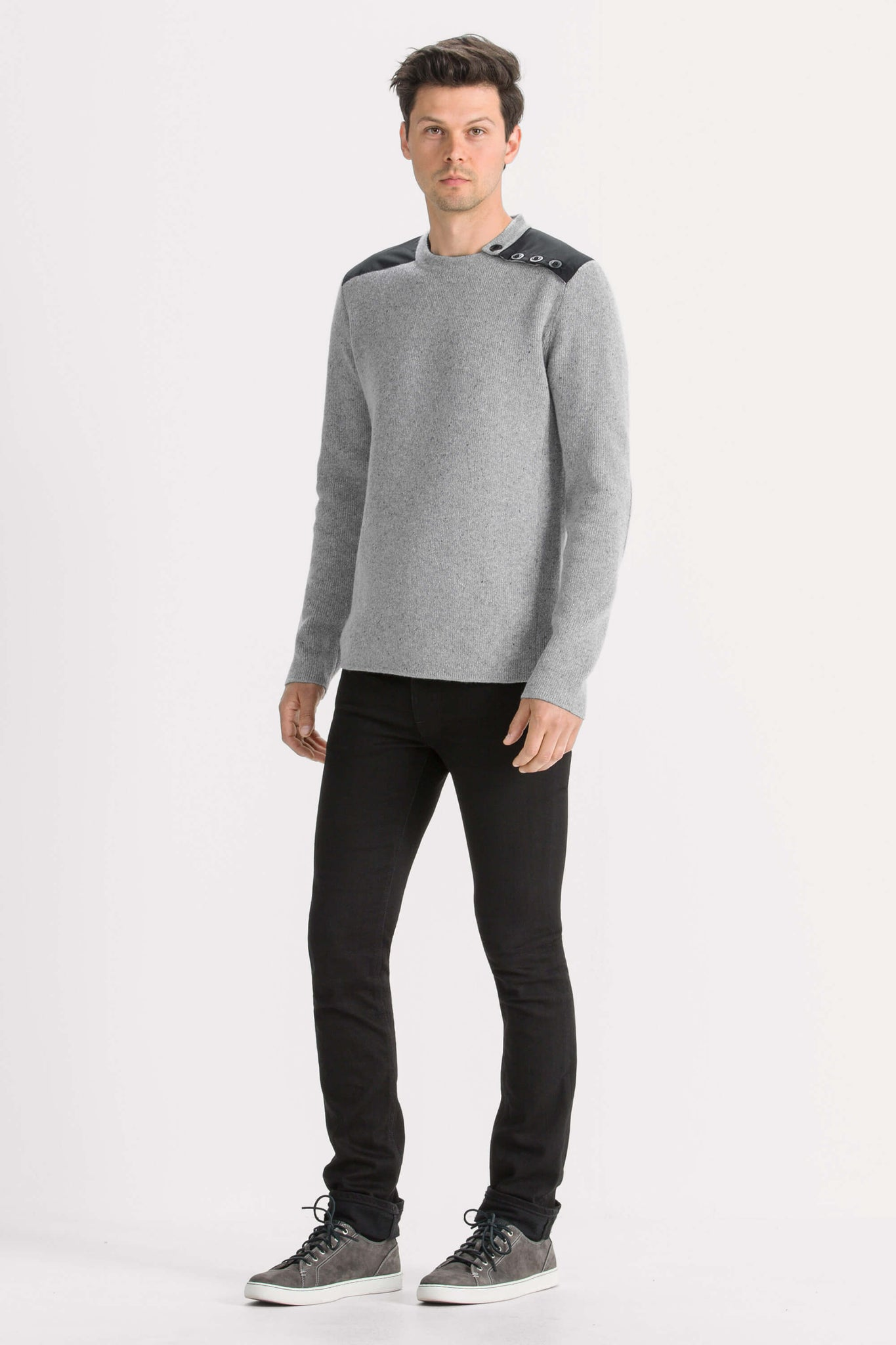men's recycled wool stealth crew neck sweater - cape heather