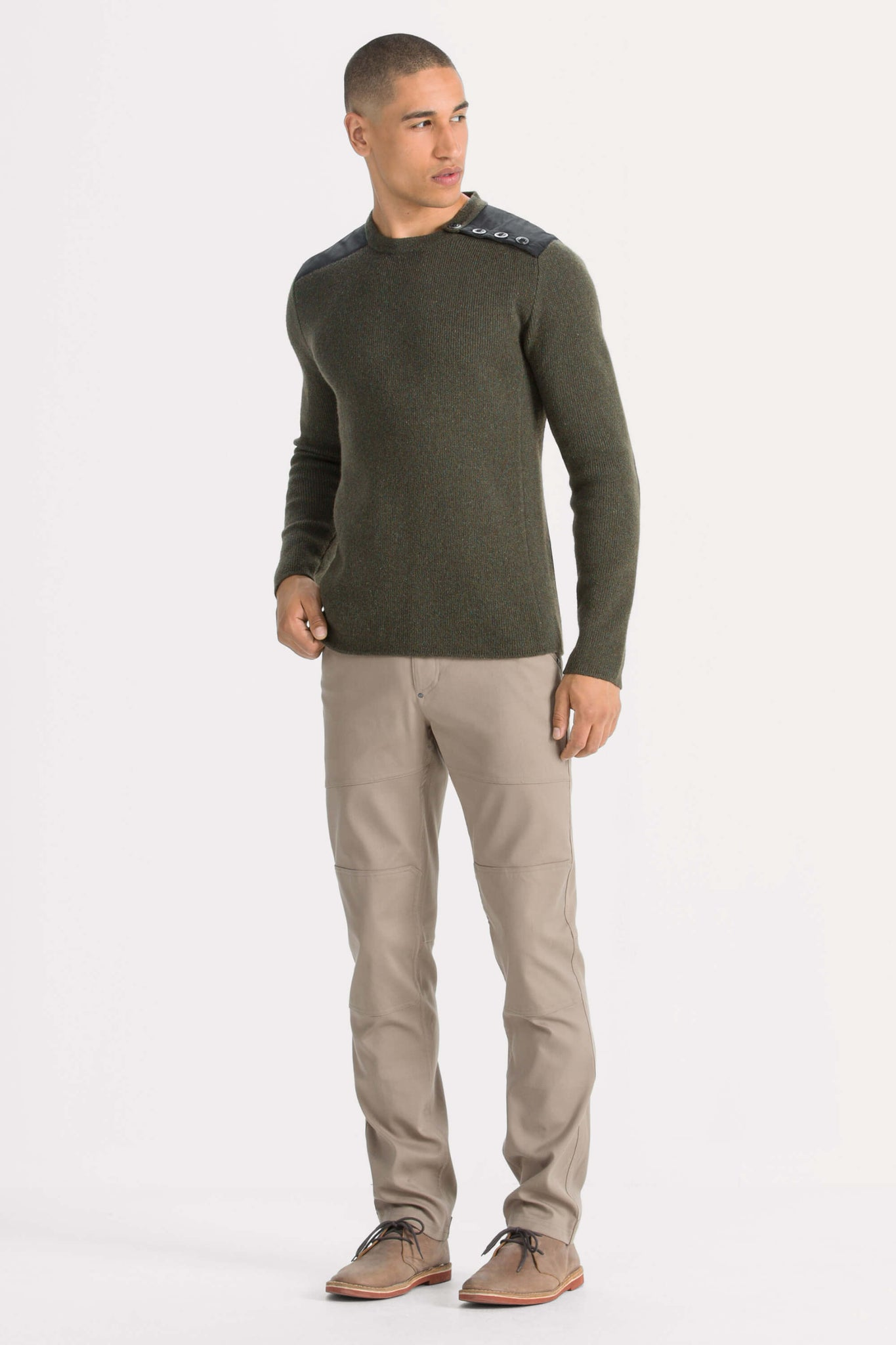 men's recycled wool stealth crew neck sweater - clove heather