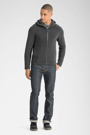 men's la grave zip front knit hoodie   caviar heather