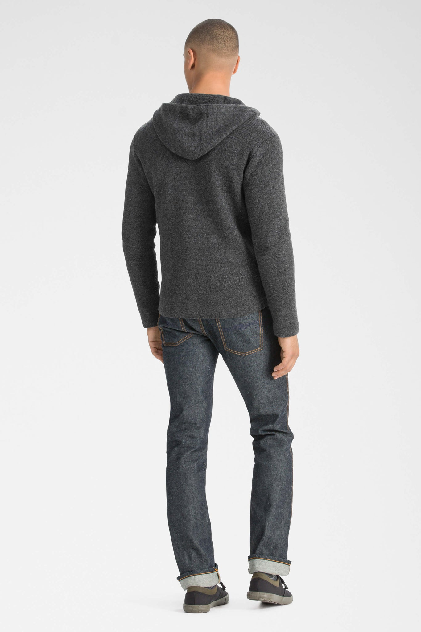 men's la grave zip front knit hoodie - caviar heather