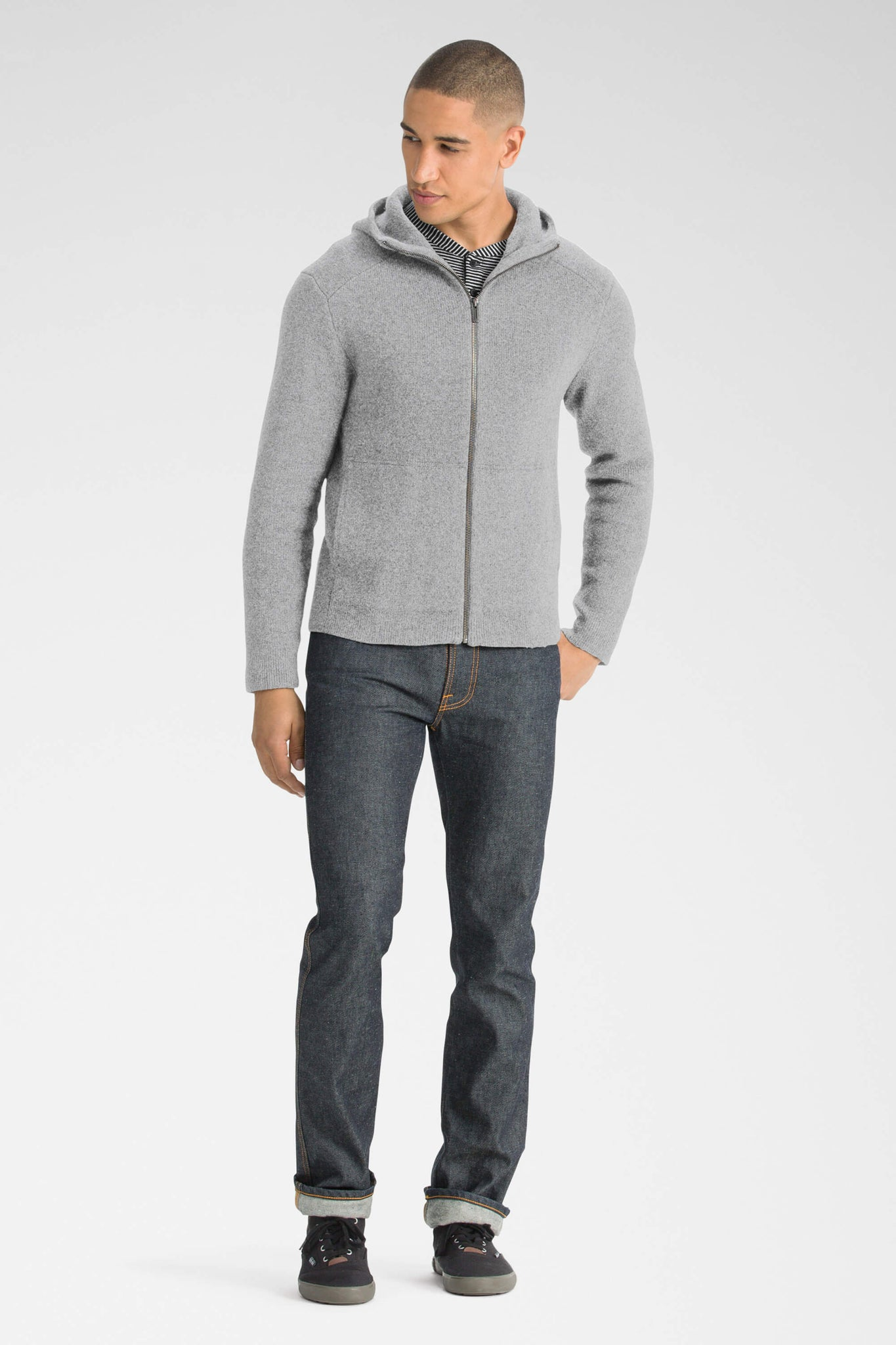 men's la grave zip front knit hoodie - cape heather
