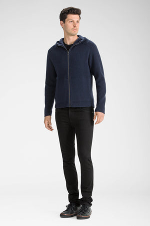 men's la grave zip front knit hoodie   navy heather