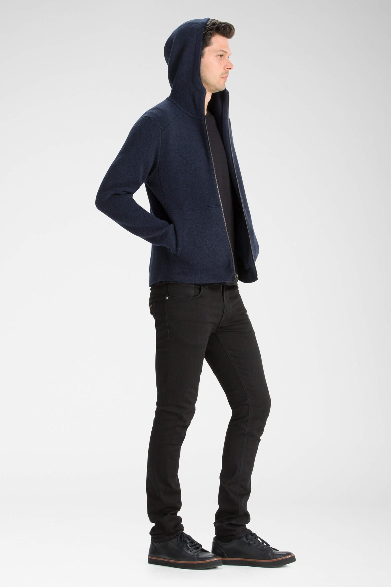 men's la grave zip front knit hoodie - navy heather