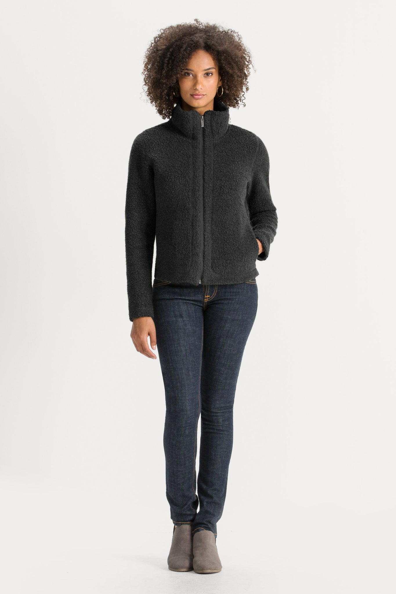 Women's Randygoat High-Pile Shearling Zip Up Jacket - Black