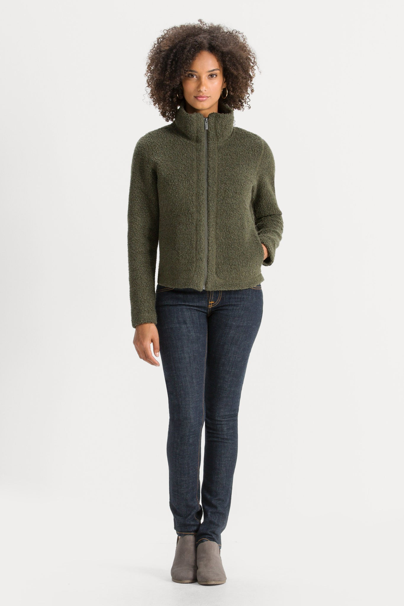 Women's Randygoat High-Pile Shearling Zip Up Jacket - Green
