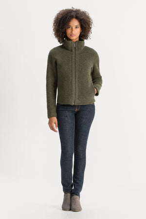Women's Randygoat High Pile Shearling Zip Up Jacket   Green