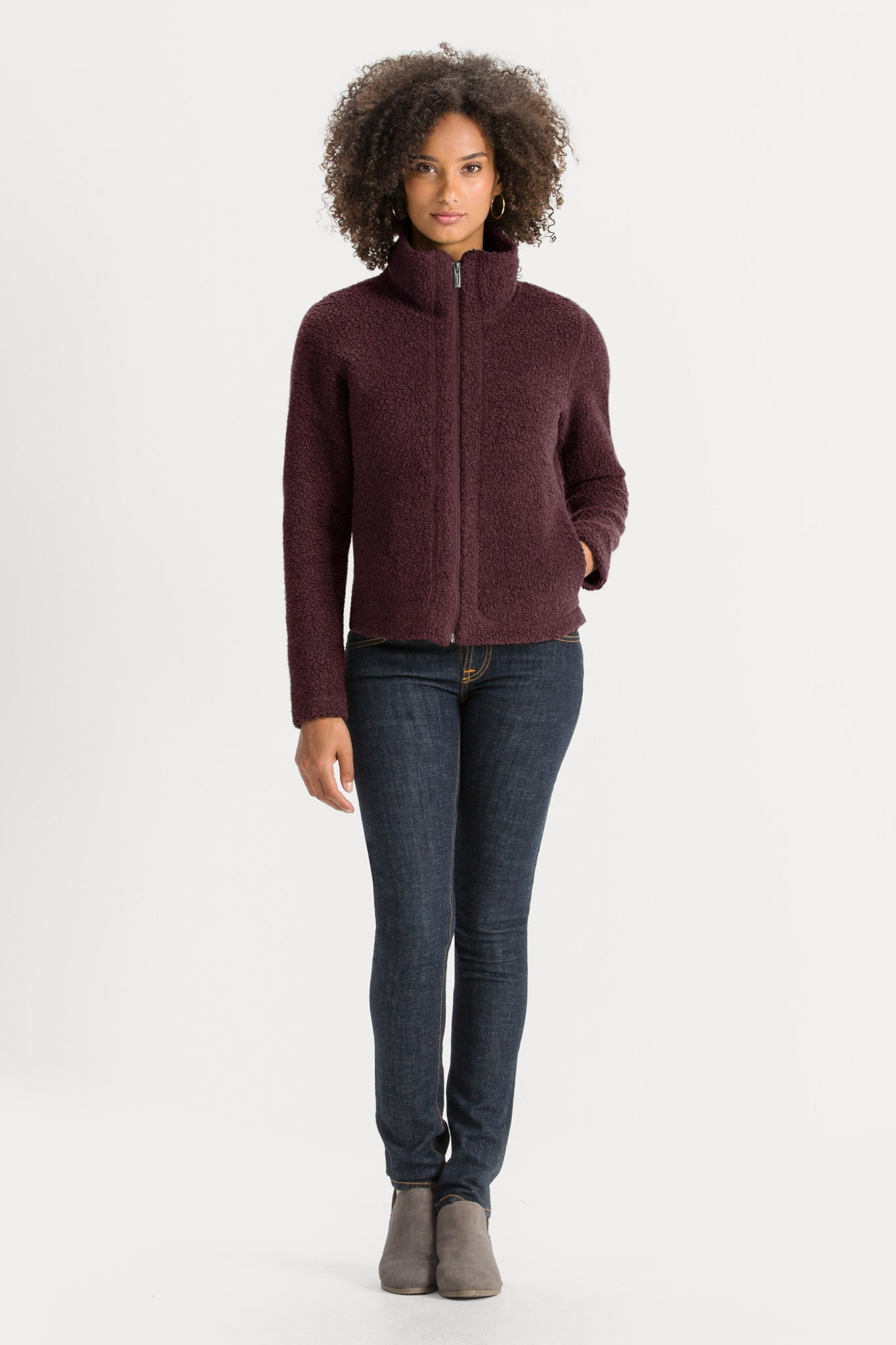 Women's Randygoat High-Pile Shearling Zip Up Jacket - Plum