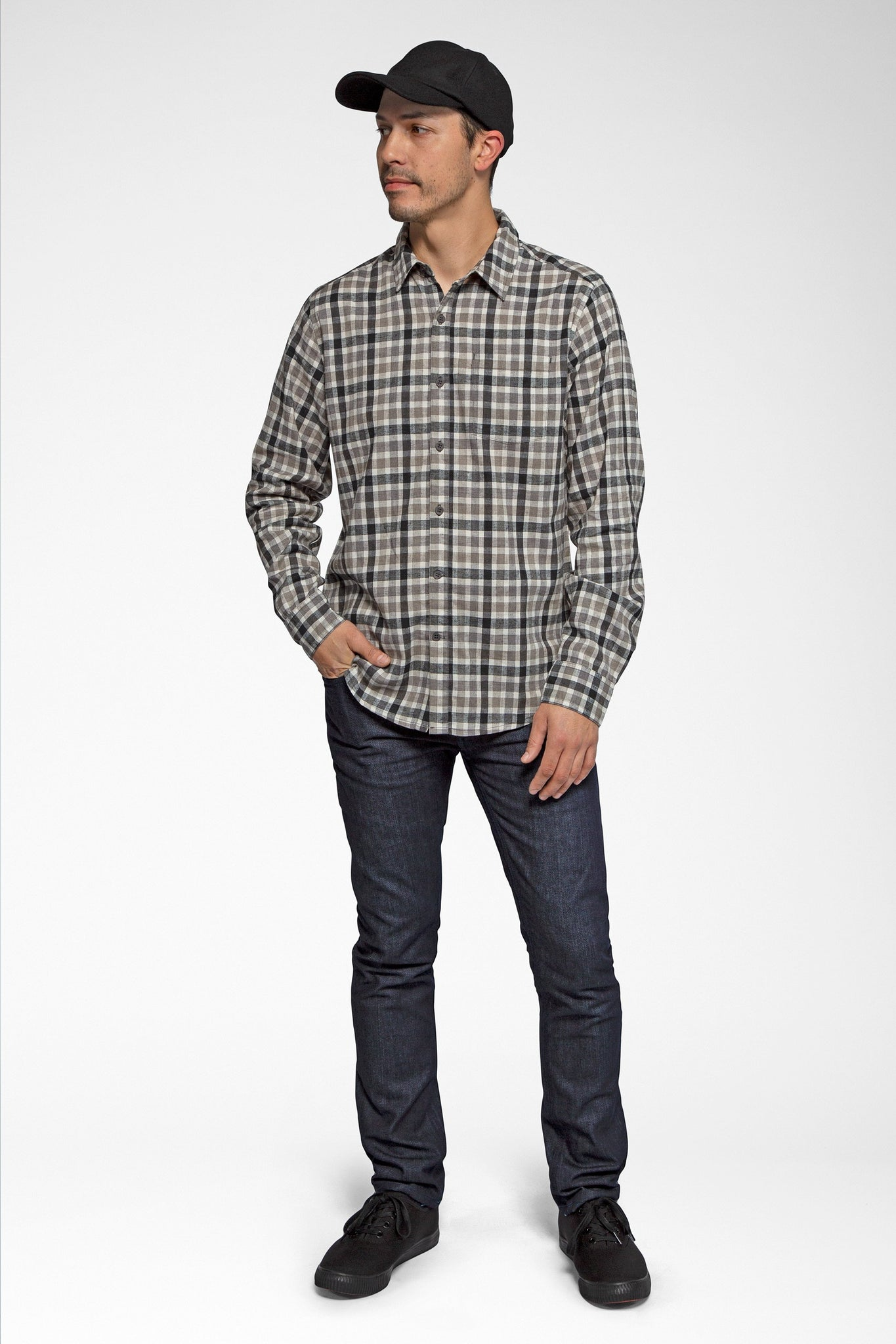 men's long sleeve hemp blend checkout shirt - caviar plaid