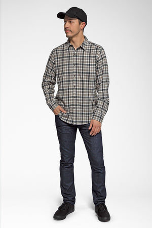 men's long sleeve hemp blend checkout shirt   caviar plaid