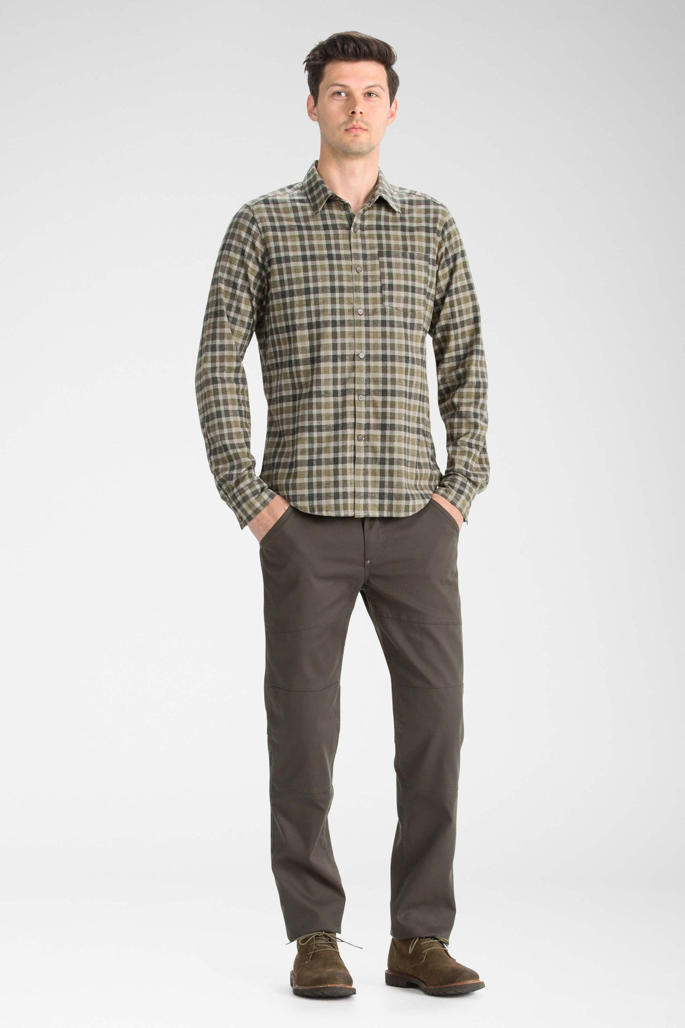 men's long sleeve hemp blend checkout shirt - peat plaid