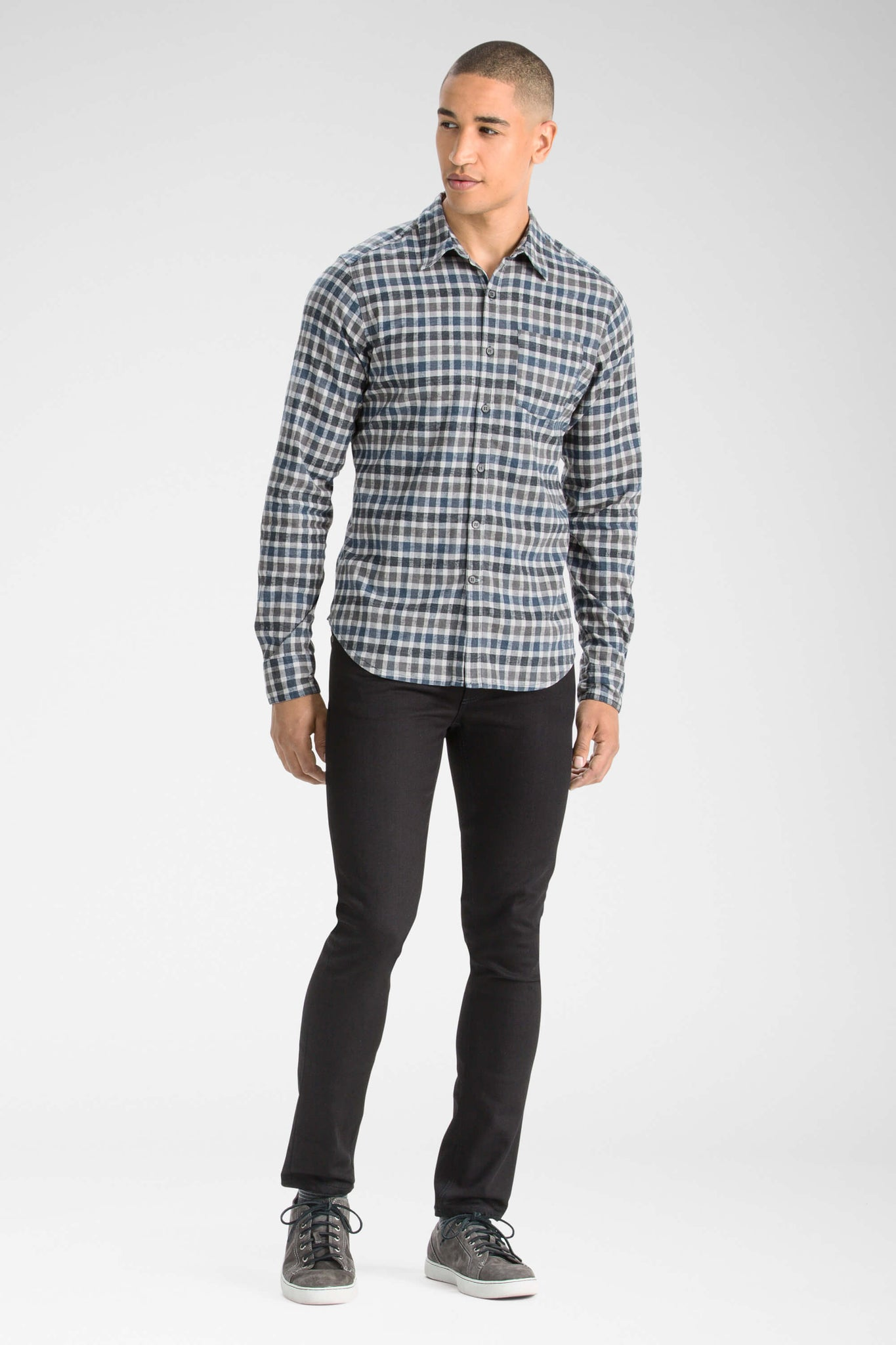 men's long sleeve hemp blend checkout shirt - indigo plaid