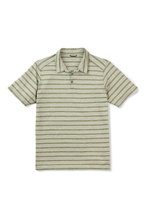 men's short sleeve kanab hemp blend polo   cedar stripe