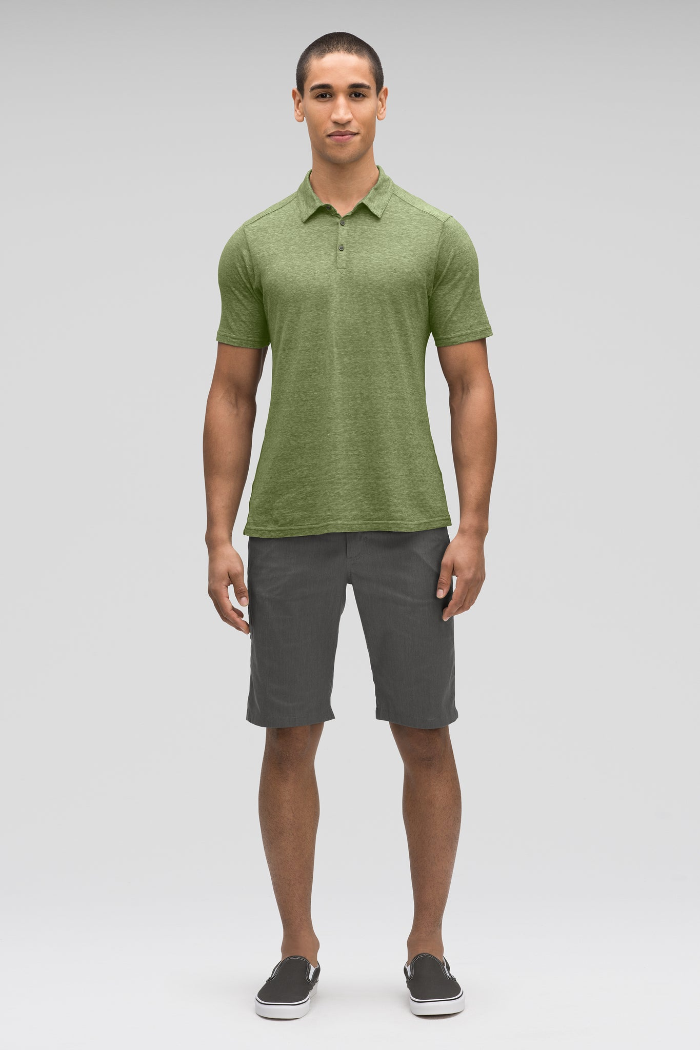 men's short sleeve kanab hemp blend polo - cedar heather