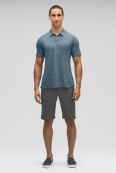 men's short sleeve kanab hemp blend polo - lagoon heather