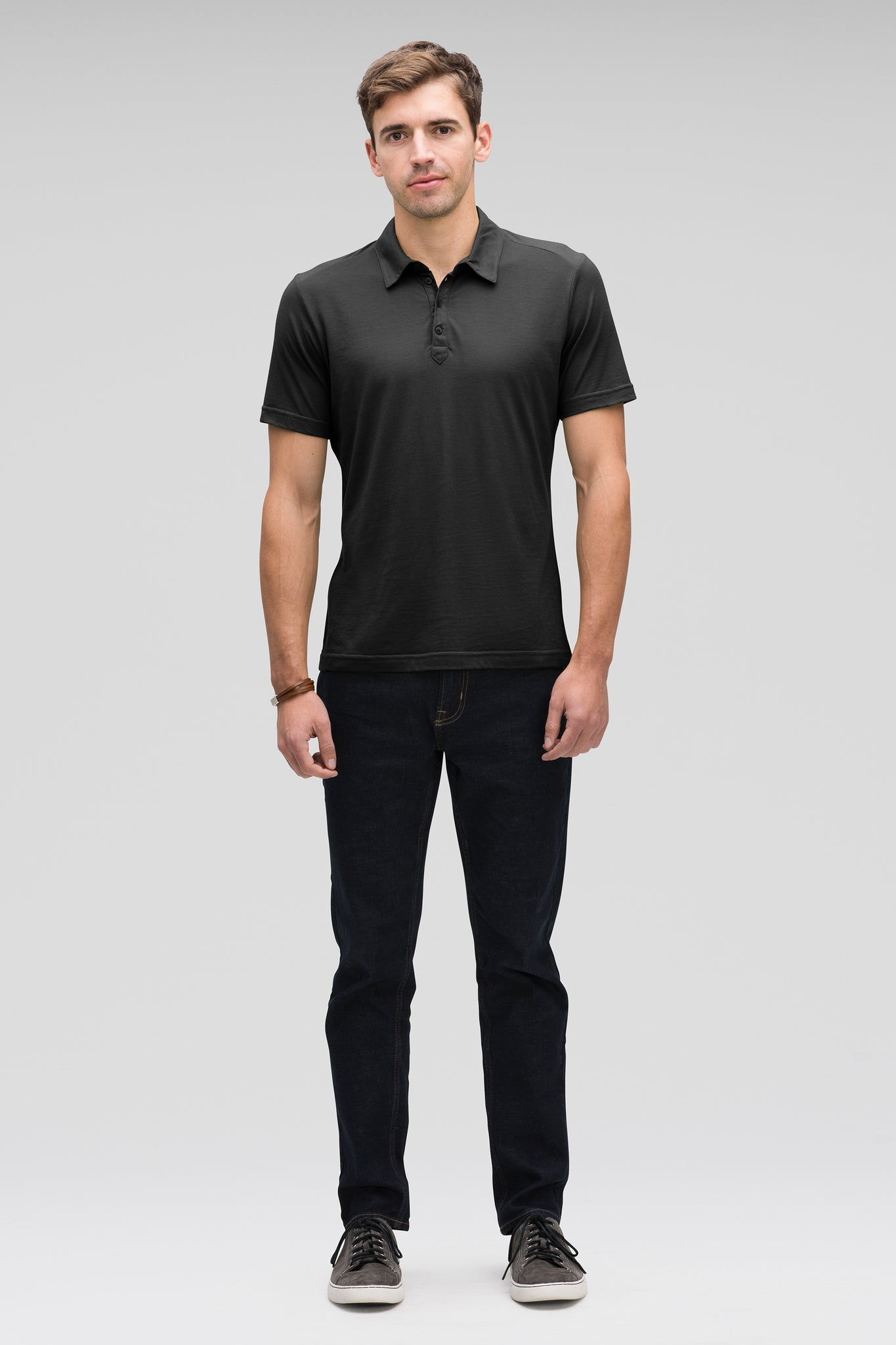 men's basis short sleeve organic cotton polo - caviar