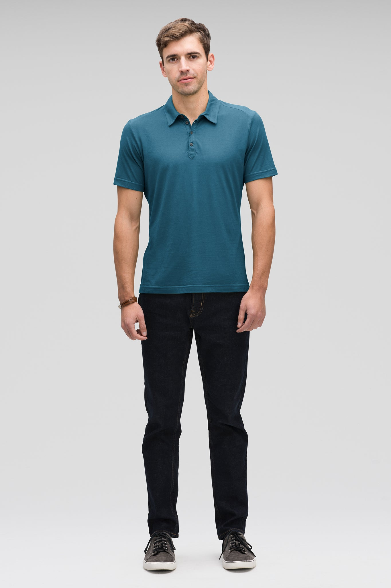 men's basis short sleeve organic cotton polo - lagoon