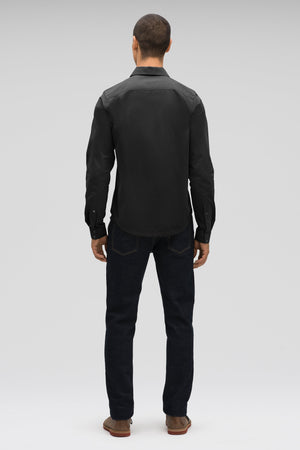 men's snap front introvert work shirt   caviar
