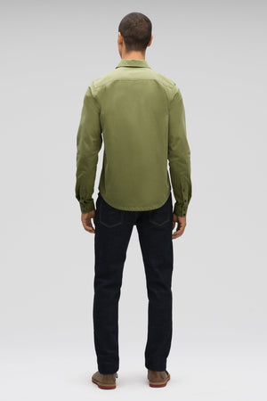 men's snap front introvert work shirt   loden