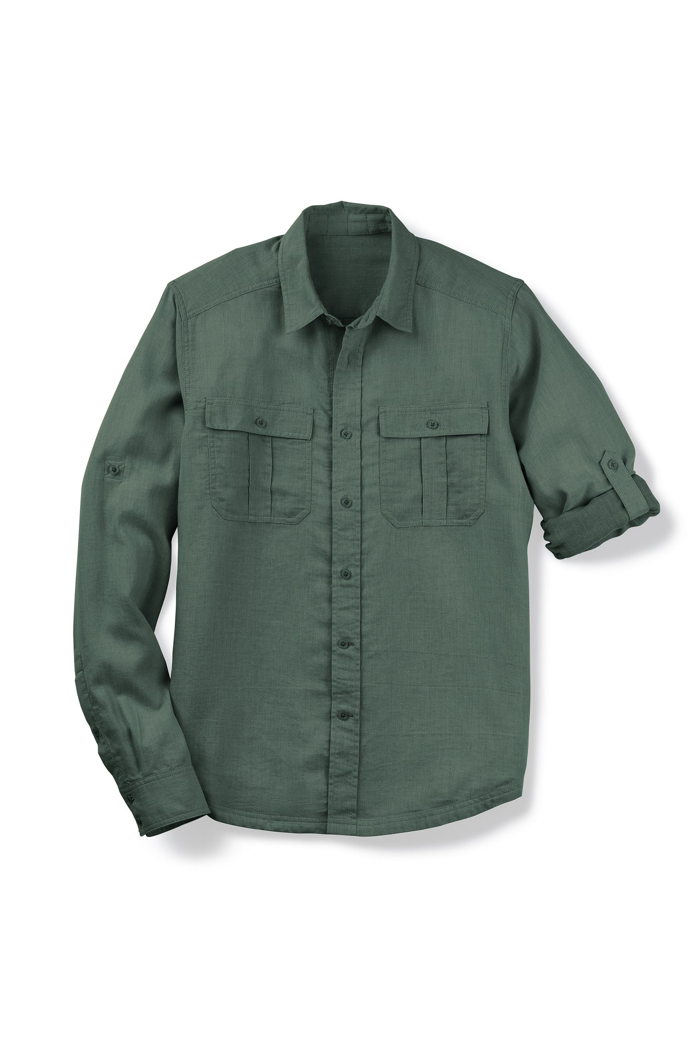 men's aere long sleeve button up shirt - loden check