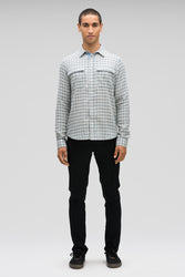 men's aere long sleeve button up shirt - lagoon plaid
