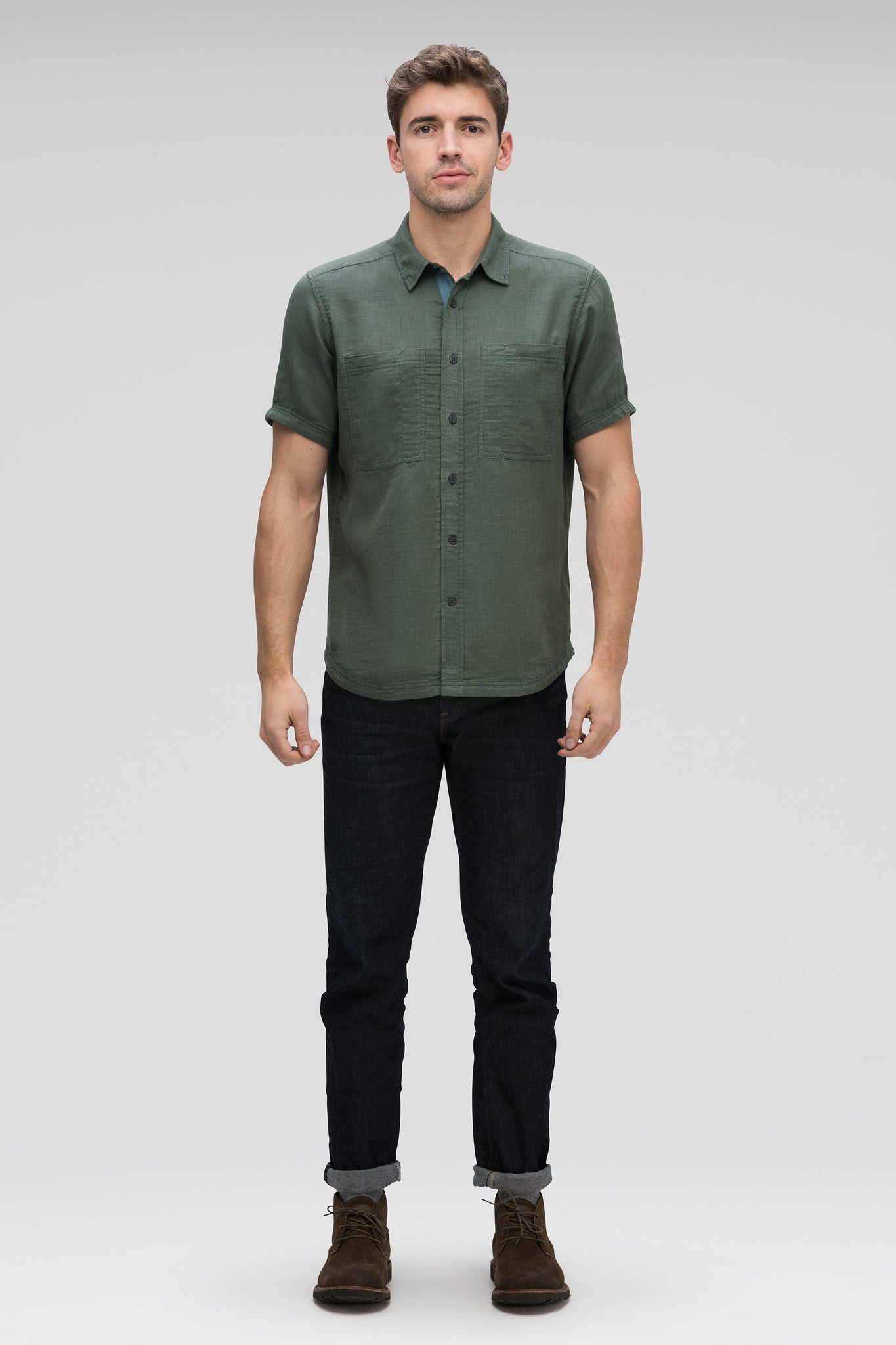Aere Short Sleeve Button Up Shirt